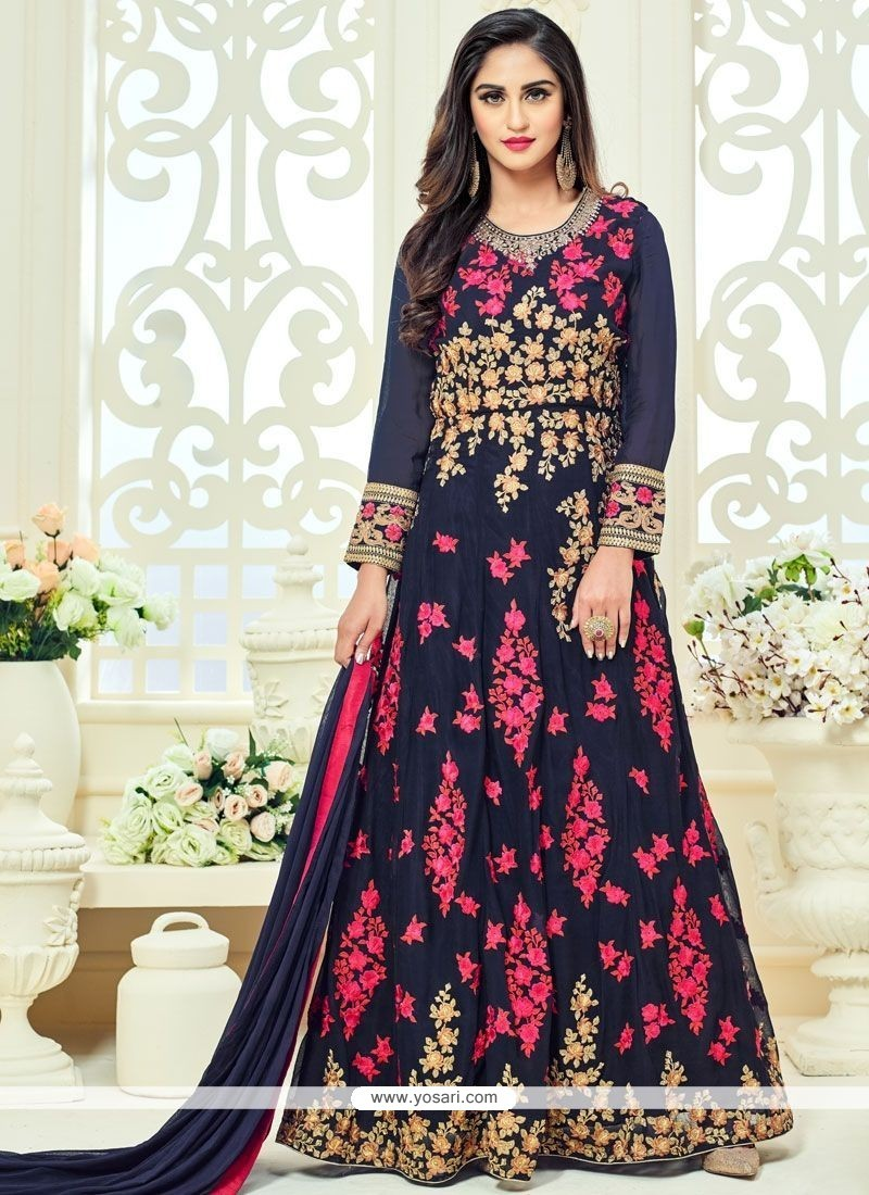 Krystle Dsouza Resham Work Faux Georgette Floor Length Anarkali Suit