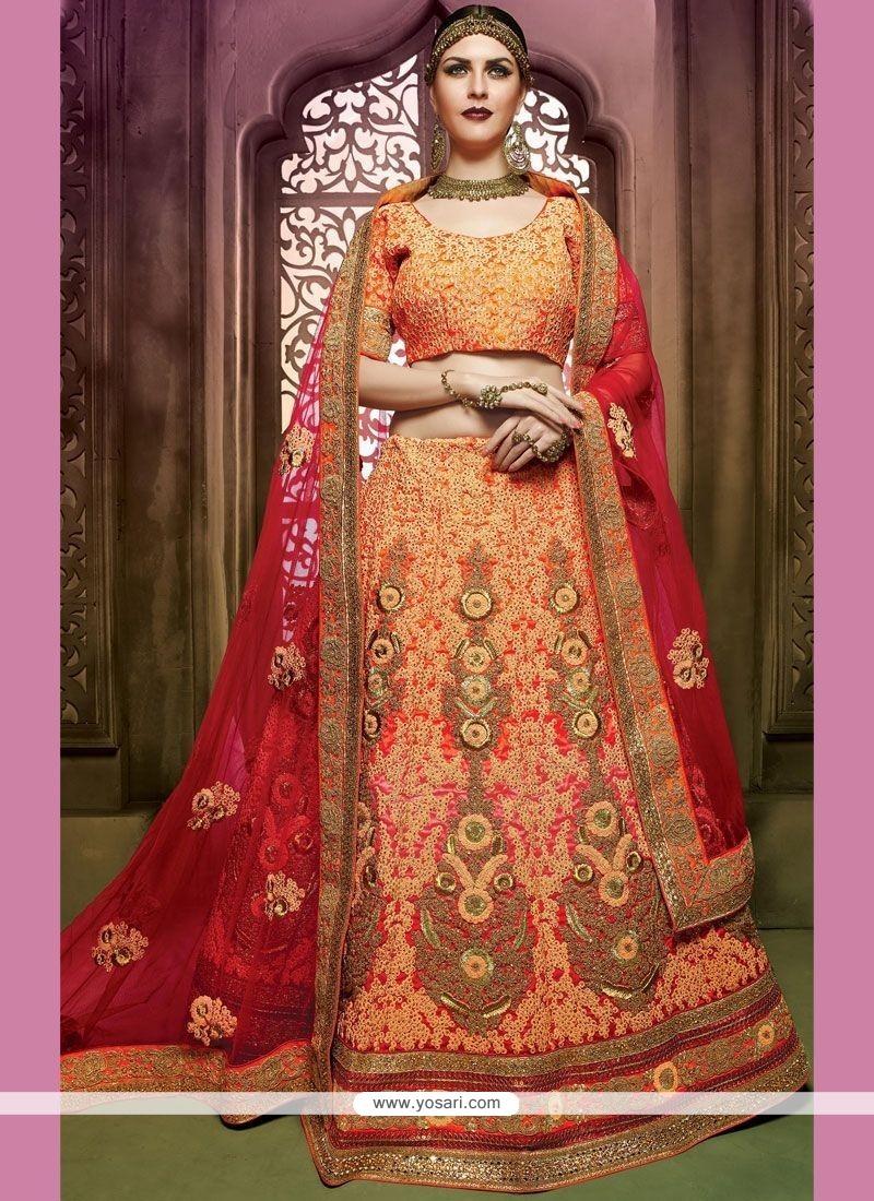 Resham Art Silk Lehenga Choli In Hot Pink And Orange