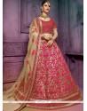 Extraordinary Art Silk Beige And Hot Pink Lehenga Choli