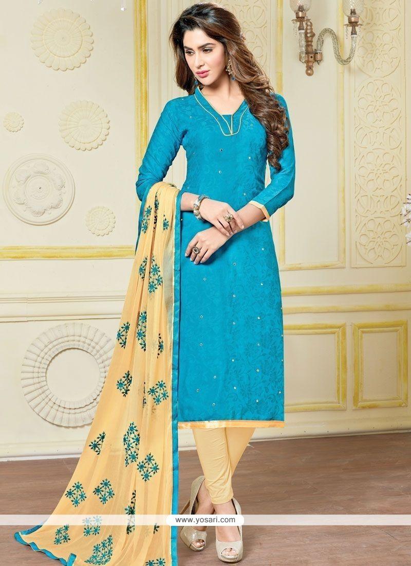 Titillating Blue And Cream Print Work Jacquard Churidar Suit