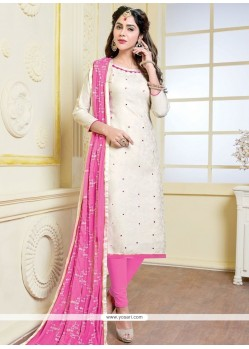 Beautiful Print Work Pink And White Banarasi Silk Churidar Suit
