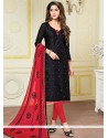 Affectionate Black And Red Print Work Jacquard Churidar Suit