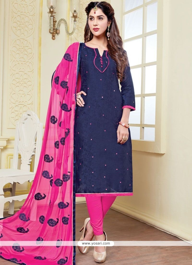 e9bf50355d Buy Winsome Print Work Banarasi Silk Churidar Suit | Churidar Salwar ...