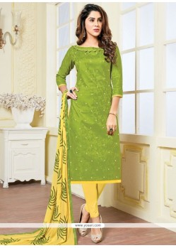 Ideal Jacquard Green And Yellow Print Work Churidar Suit