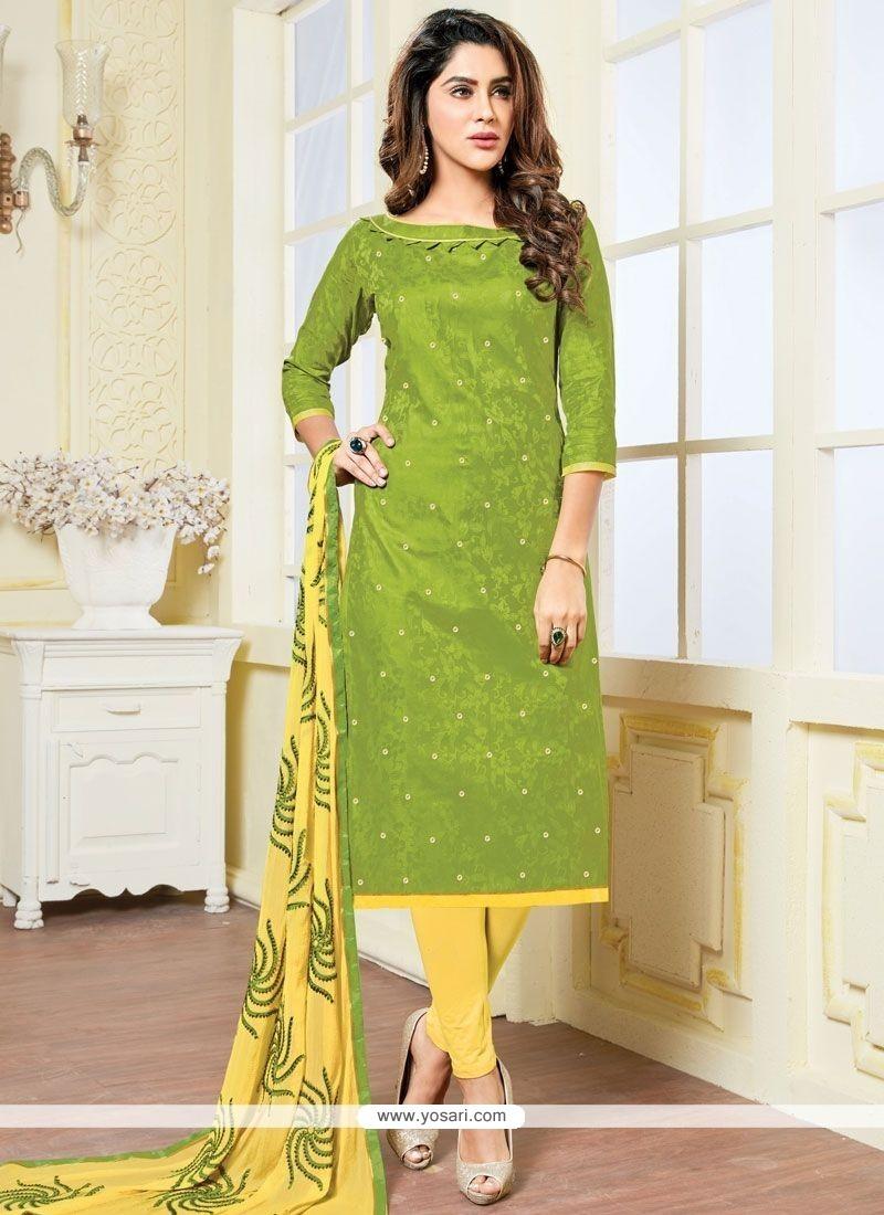 Ideal Jacquard Green And Yellow Print Work Churidar Suit