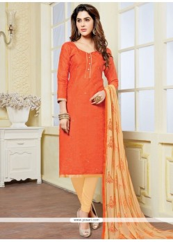 Marvelous Print Work Orange Banarasi Silk Churidar Suit