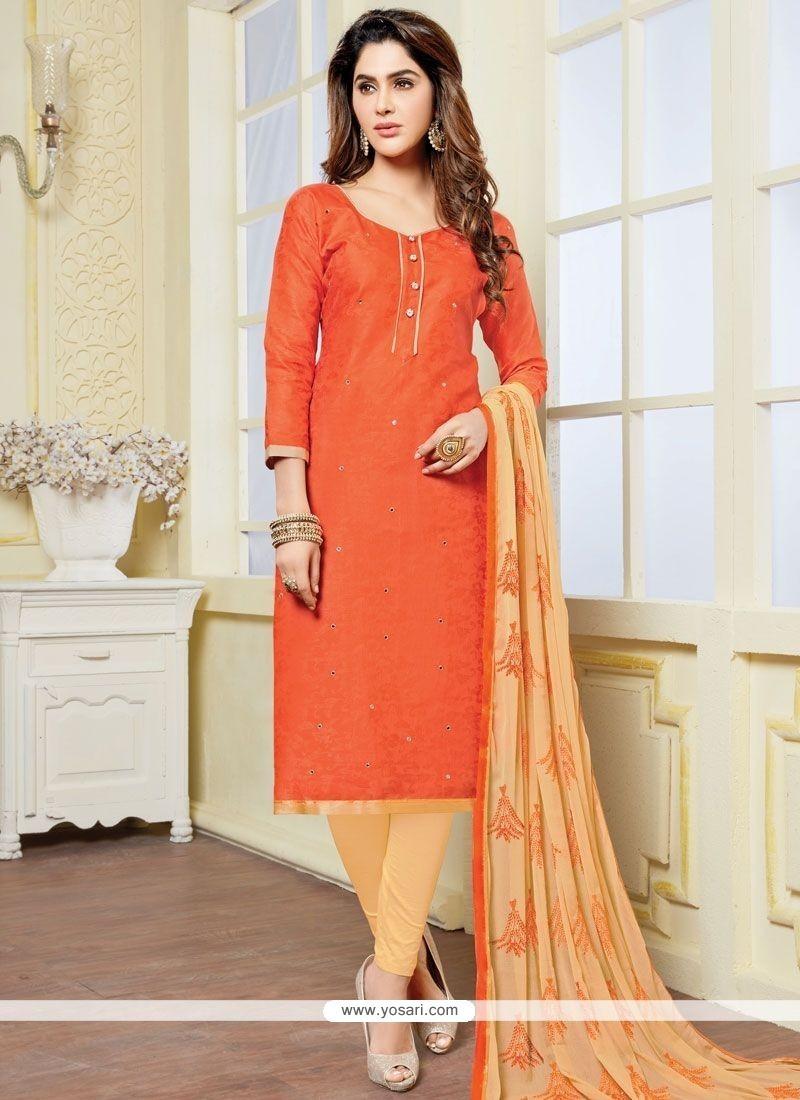 Marvelous Print Work Orange Banarasi Silk Churidar Suit
