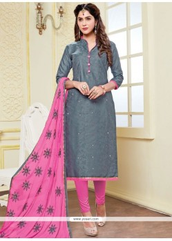 Glowing Print Work Grey And Pink Banarasi Silk Churidar Suit
