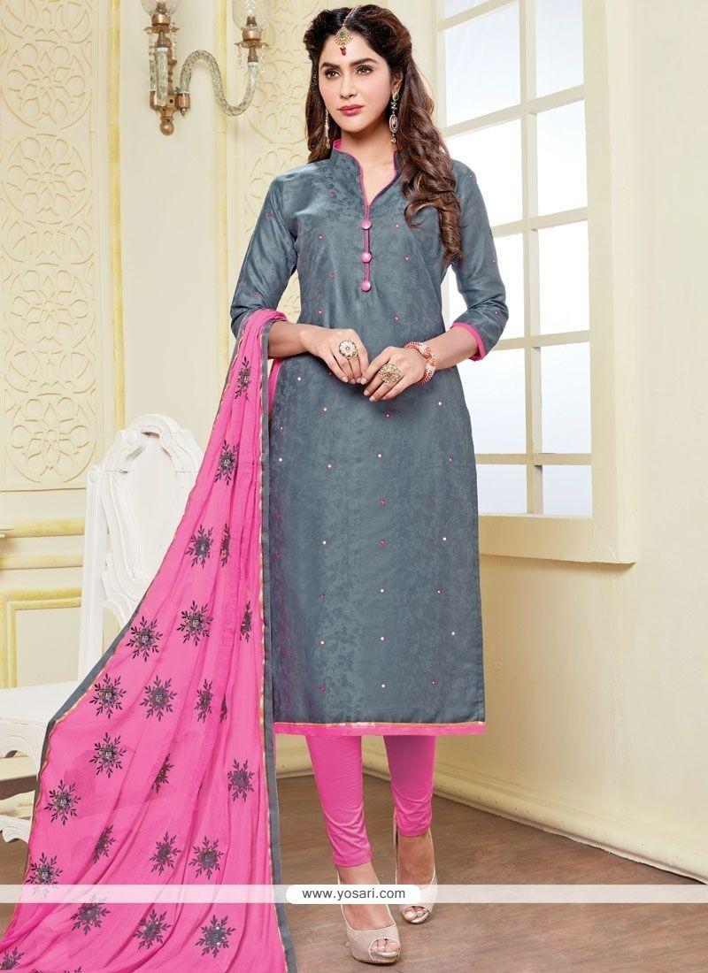 Glowing Print Work Grey And Pink Banarasi Silk Churidar Suit