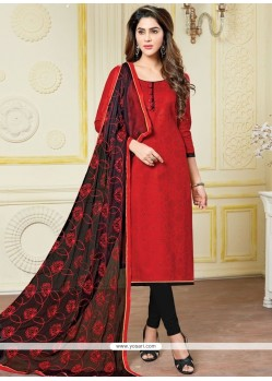 Elegant Banarasi Silk Black And Red Print Work Churidar Suit