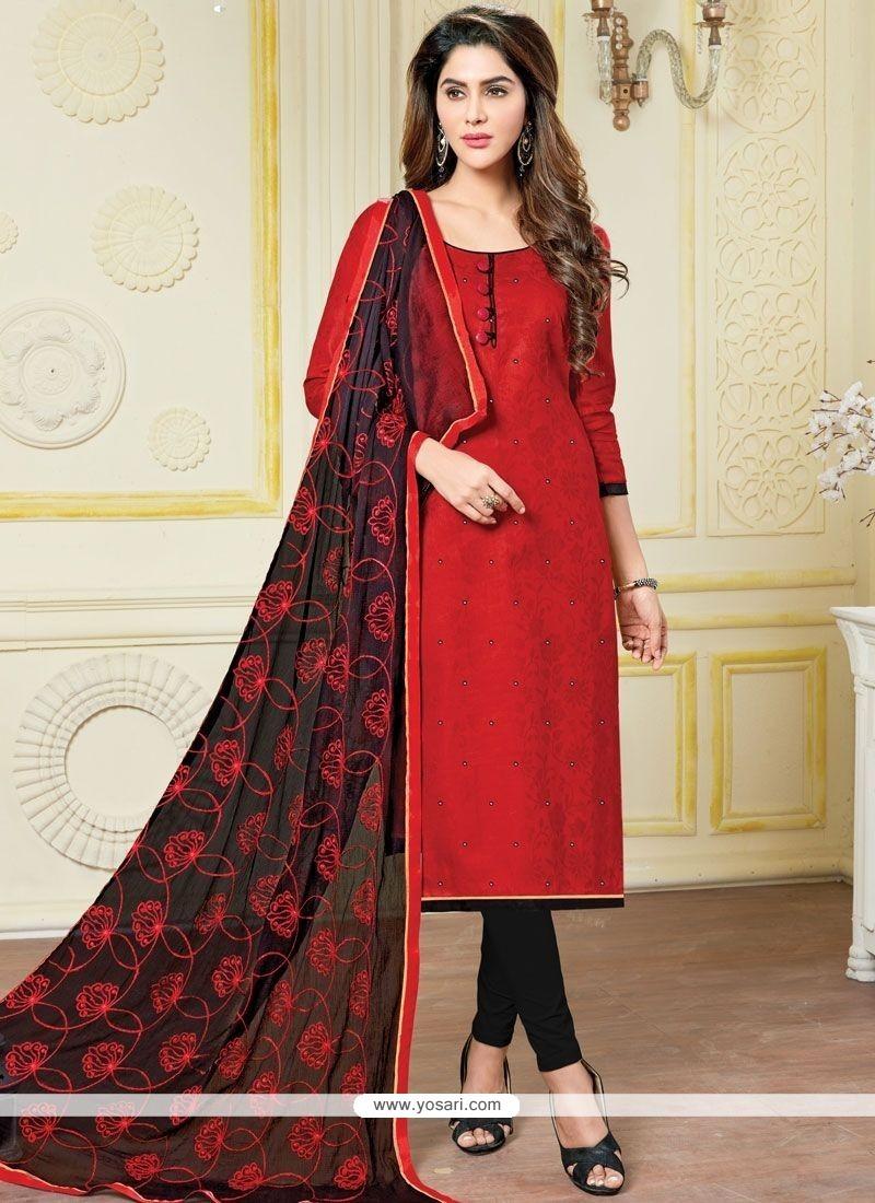 Elegant Banarasi Silk Black And Red Print Work Churidar Suit