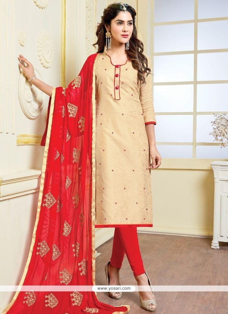 Prominent Banarasi Silk Beige And Red Churidar Suit