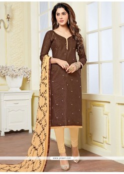 Flamboyant Beige And Brown Churidar Suit