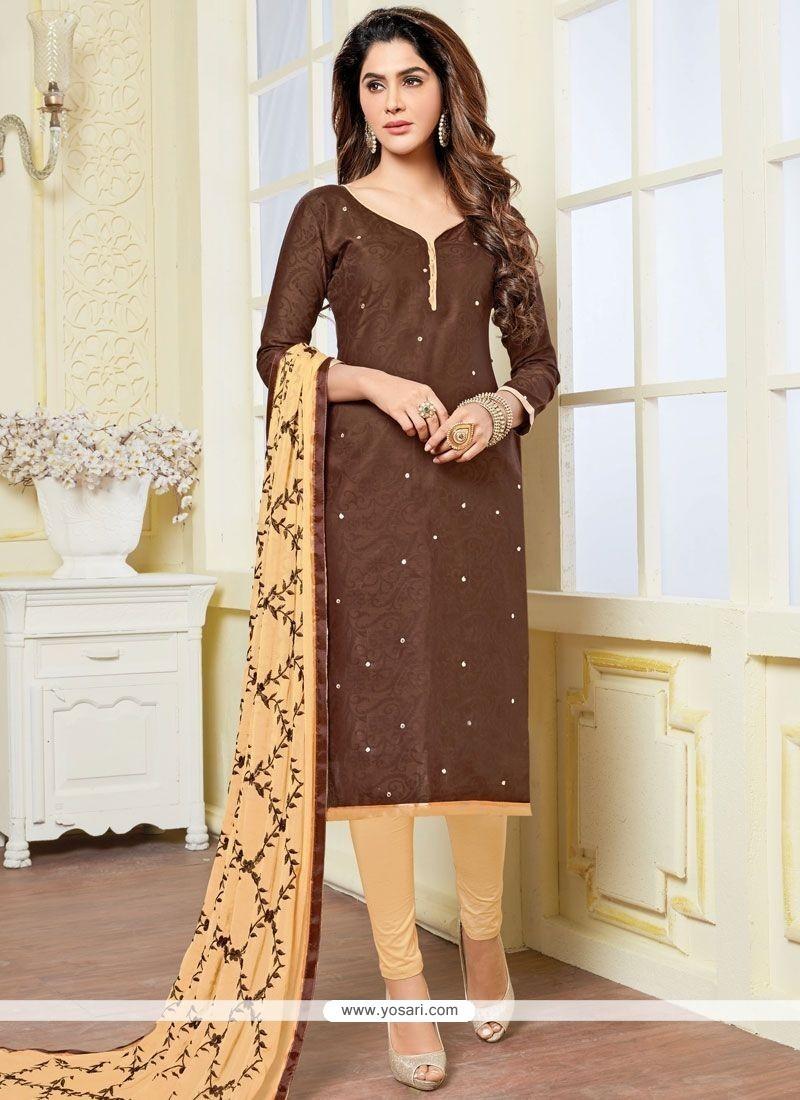 Flamboyant Beige And Brown Churidar Suit