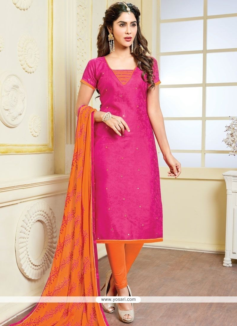 Staggering Hot Pink And Orange Print Work Churidar Suit