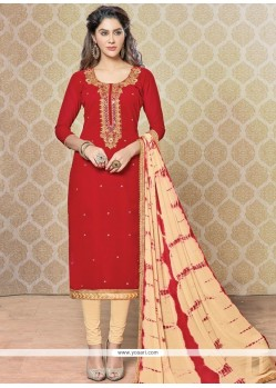 Pleasance Beige And Red Churidar Designer Suit