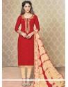 Pleasance Beige And Red Churidar Designer Suit