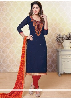 Blissful Faux Georgette Embroidered Work Churidar Designer Suit