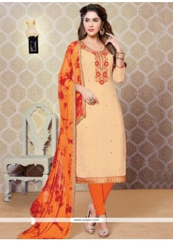 Orphic Faux Georgette Beige And Orange Churidar Designer Suit