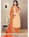 Orphic Faux Georgette Beige And Orange Churidar Designer Suit