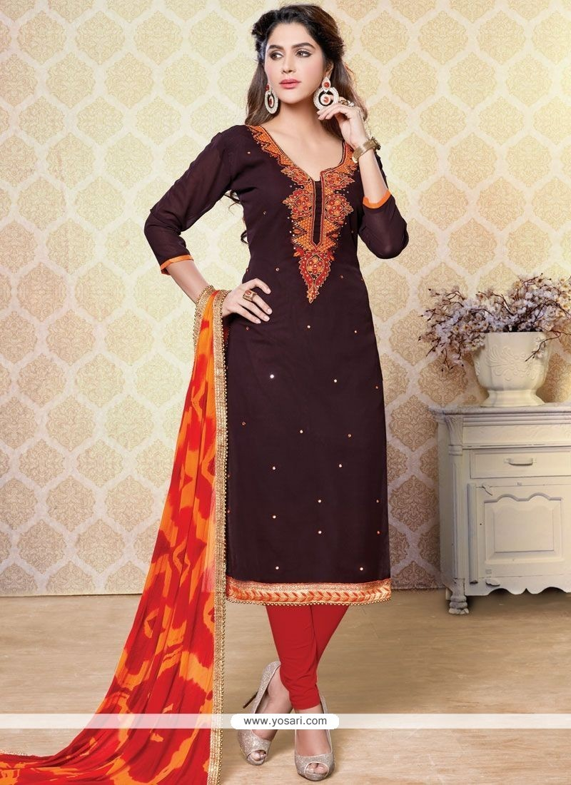 Surpassing Faux Georgette Brown And Maroon Embroidered Work Churidar Designer Suit