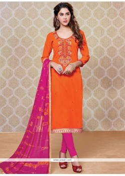Attractive Faux Georgette Hot Pink And Orange Churidar Designer Suit