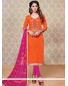 Attractive Faux Georgette Hot Pink And Orange Churidar Designer Suit