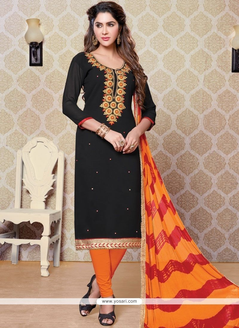 Perfect Black And Orange Embroidered Work Churidar Designer Suit
