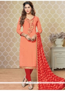 Desirable Embroidered Work Faux Georgette Peach And Red Churidar Designer Suit