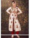 Paramount Tafeta Silk Zari Work Readymade Churidar Suit