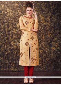 Zari Tafeta Silk Readymade Churidar Suit In Beige