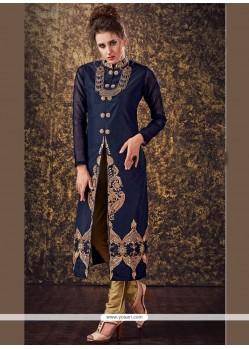 Sightly Zari Work Tafeta Silk Readymade Churidar Suit