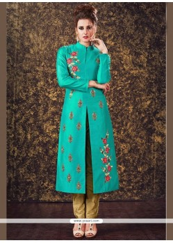 Gripping Sea Green Readymade Churidar Suit