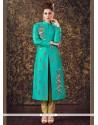 Gripping Sea Green Readymade Churidar Suit