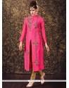 Classical Art Silk Embroidered Work Readymade Churidar Suit