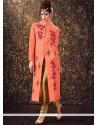 Zari Art Silk Readymade Churidar Suit In Peach