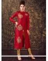 Energetic Art Silk Maroon Readymade Churidar Suit