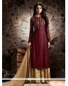 Adorable Cotton Satin Embroidered Work Designer Palazzo Suit