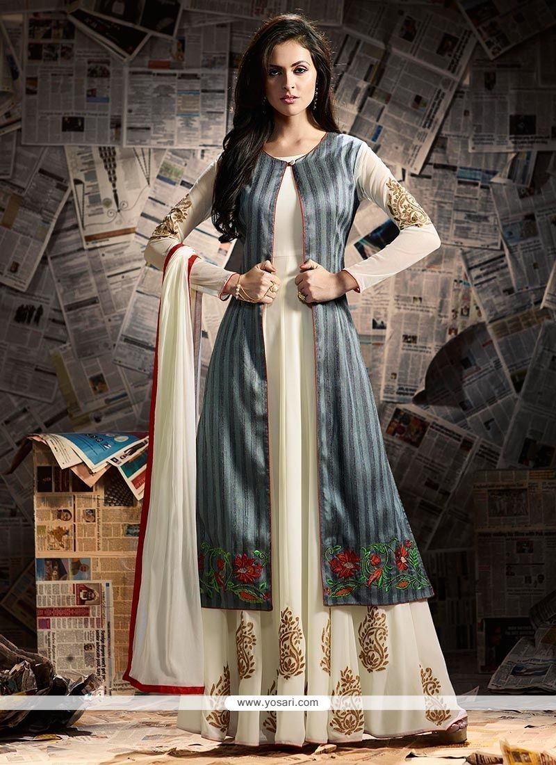 Fetching Banarasi Silk Grey And White Jacket Style Anarkali Suit