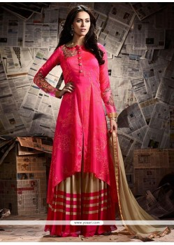 Magnificent Hot Pink Zari Work Art Silk Designer Palazzo Suit