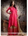 Magnificent Hot Pink Zari Work Art Silk Designer Palazzo Suit