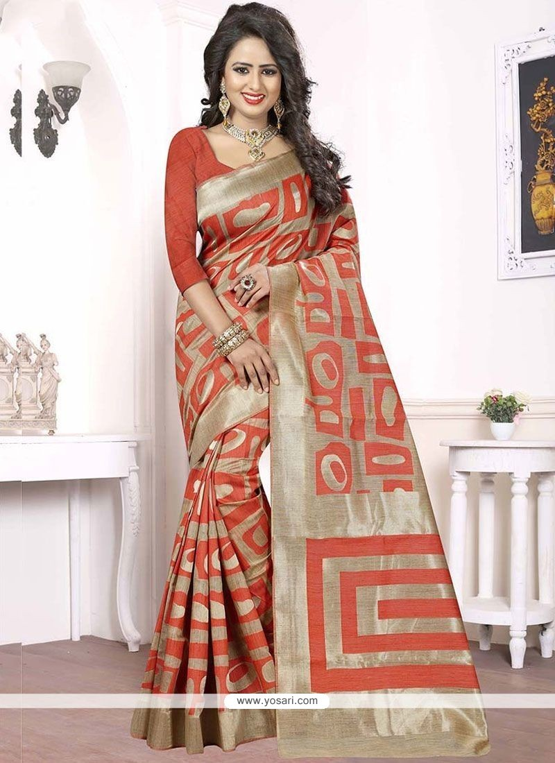 Vibrant Peach Woven Work Banarasi Silk Designer Traditional Saree