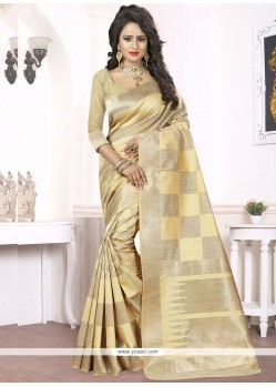 Sightly Woven Work Beige Traditional Saree