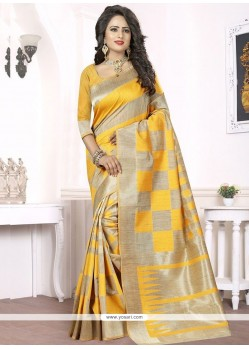 Woven Banarasi Silk Traditional Designer Saree In Yellow