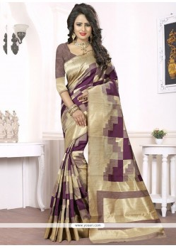 Simplistic Woven Work Magenta Designer Traditional Saree