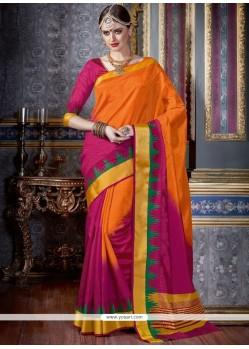 Vibrant Magenta And Orange Woven Work Tussar Silk Traditional Saree
