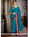 Blue Woven Work Tussar Silk Traditional Designer Saree