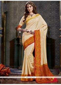 Eye-catchy Cream Woven Work Designer Traditional Saree