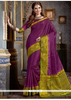 Majestic Purple Woven Work Traditional Saree