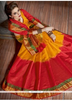 Red And Yellow Woven Work Tussar Silk Traditional Designer Saree